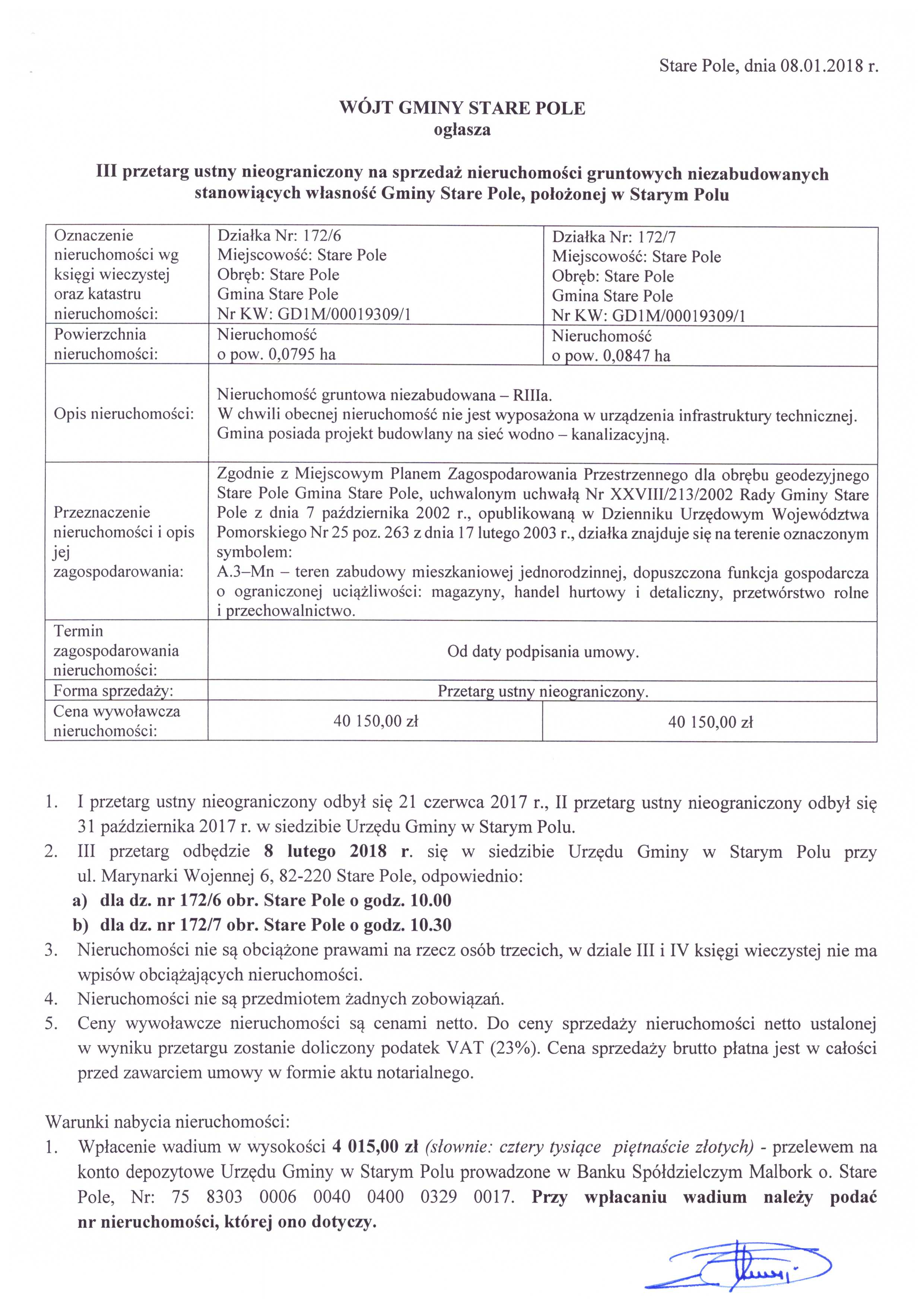 Ogłoszenie z dnia 8 stycznia 2018 r. o III przetargu ustnym nieograniczonym na sprzedaż nieruchomości - str. 1