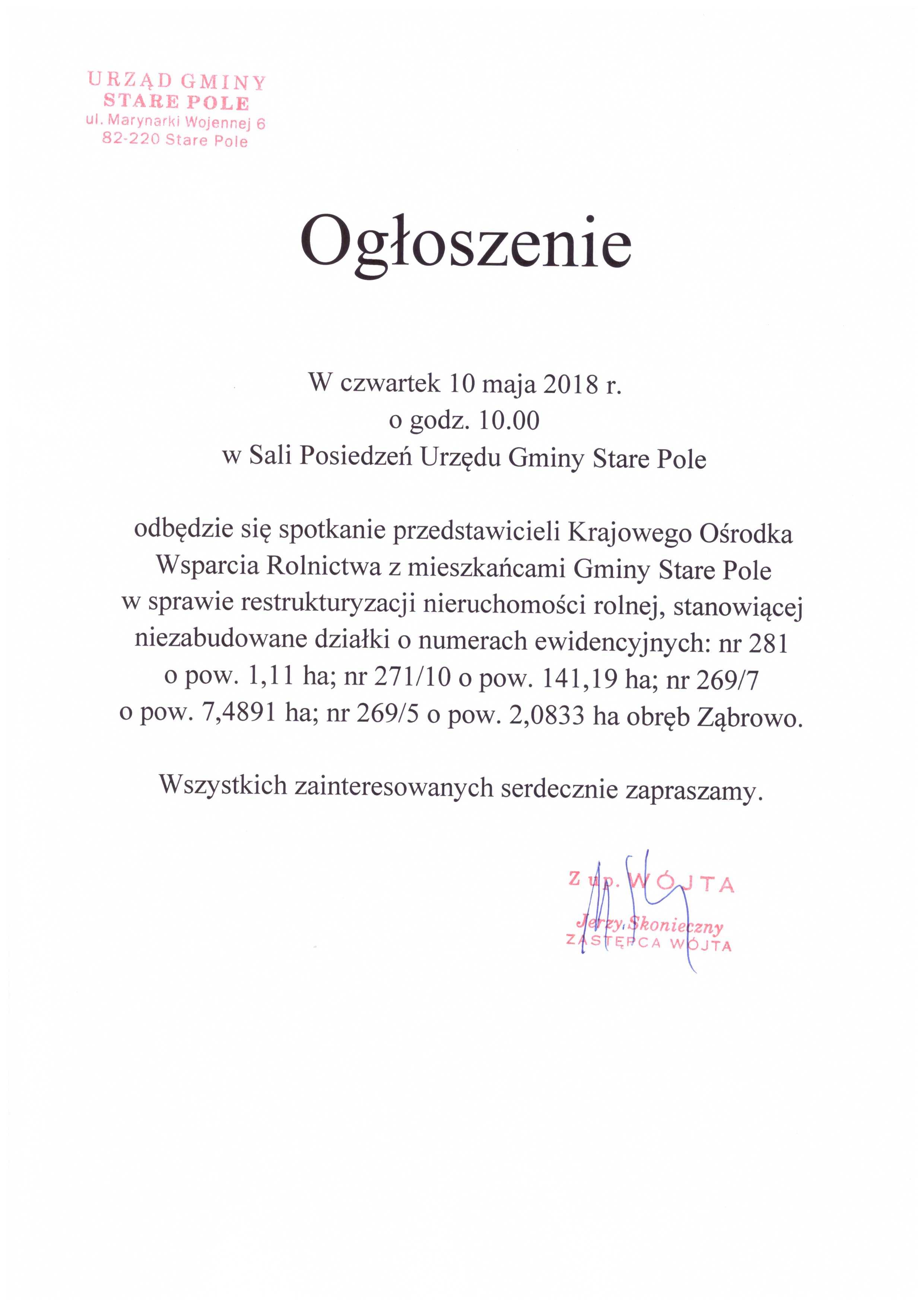 Ogłoszenie Wójta Gminy Stare Pole z dnia 7 maja 2018 r.