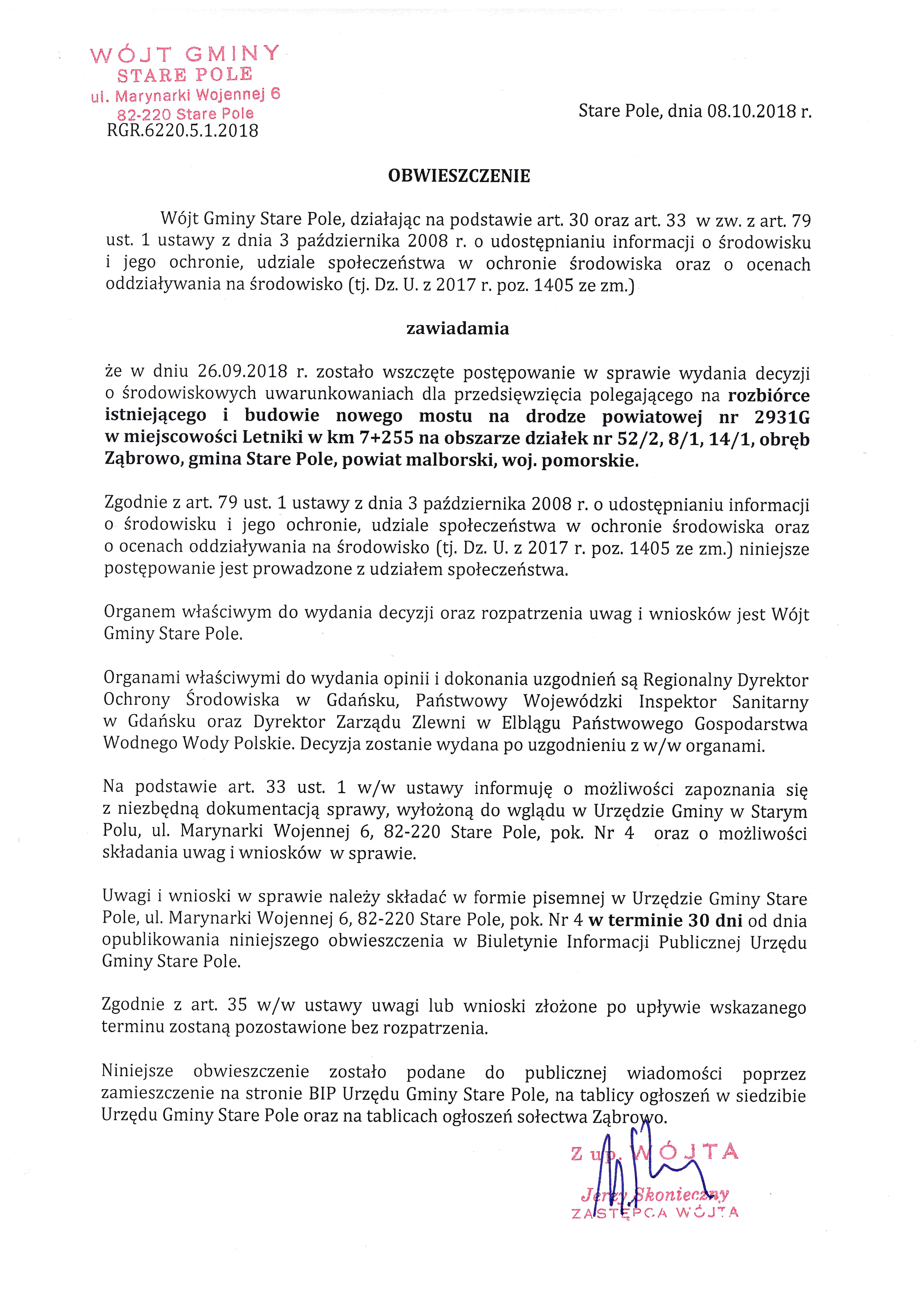 Obwieszczenie Wójta Gminy Stare Pole z dnia 8 października 2018 r.