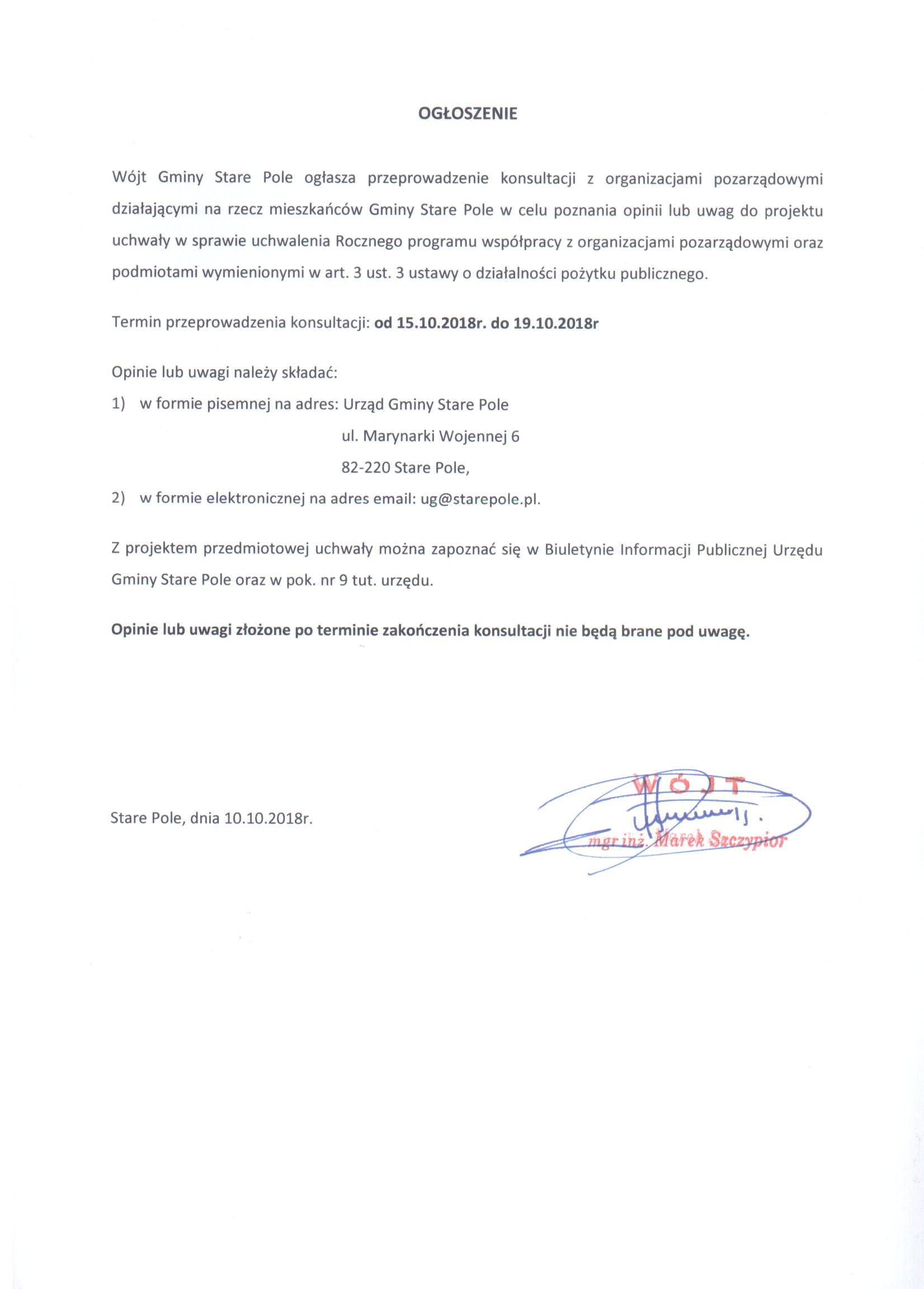Ogłoszenie Wójta Gminy Stare Pole z dnia 10 października 2018 r.