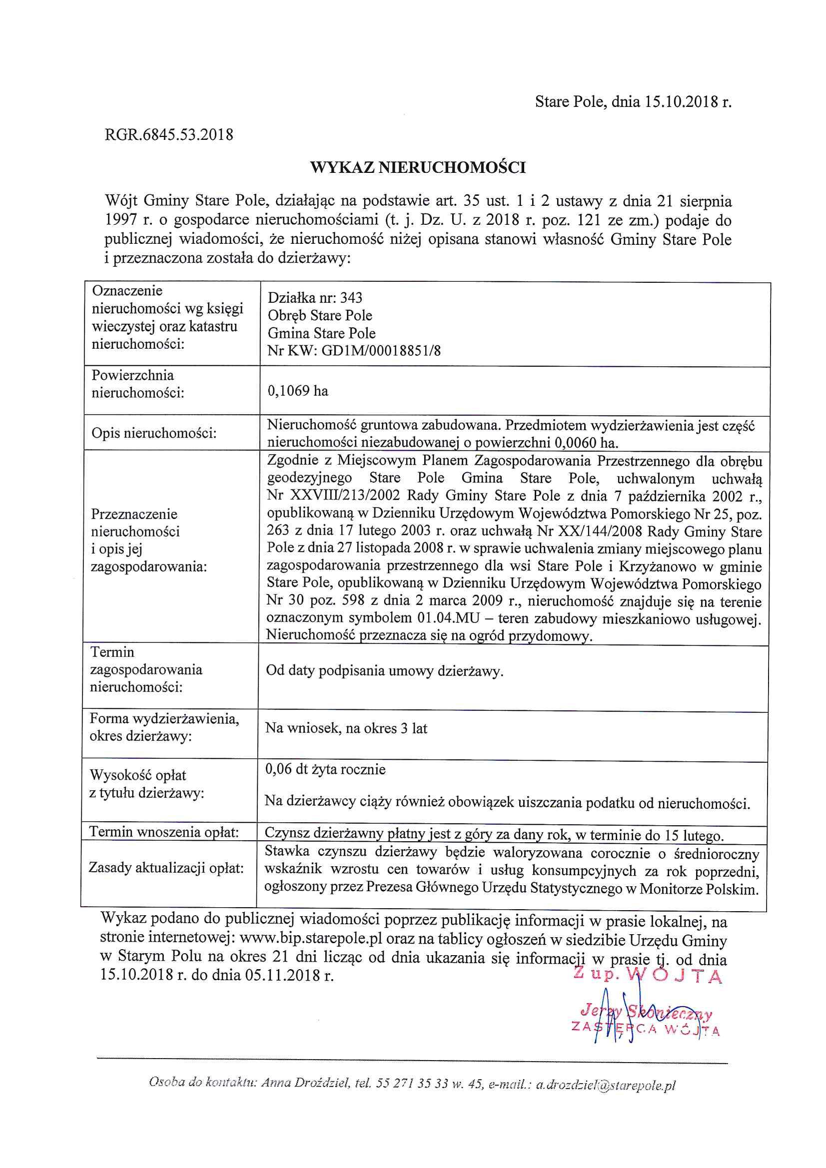 Wykaz z dnia 15 października 2018 r. nieruchomości przeznaczonych do dzierżawy - II