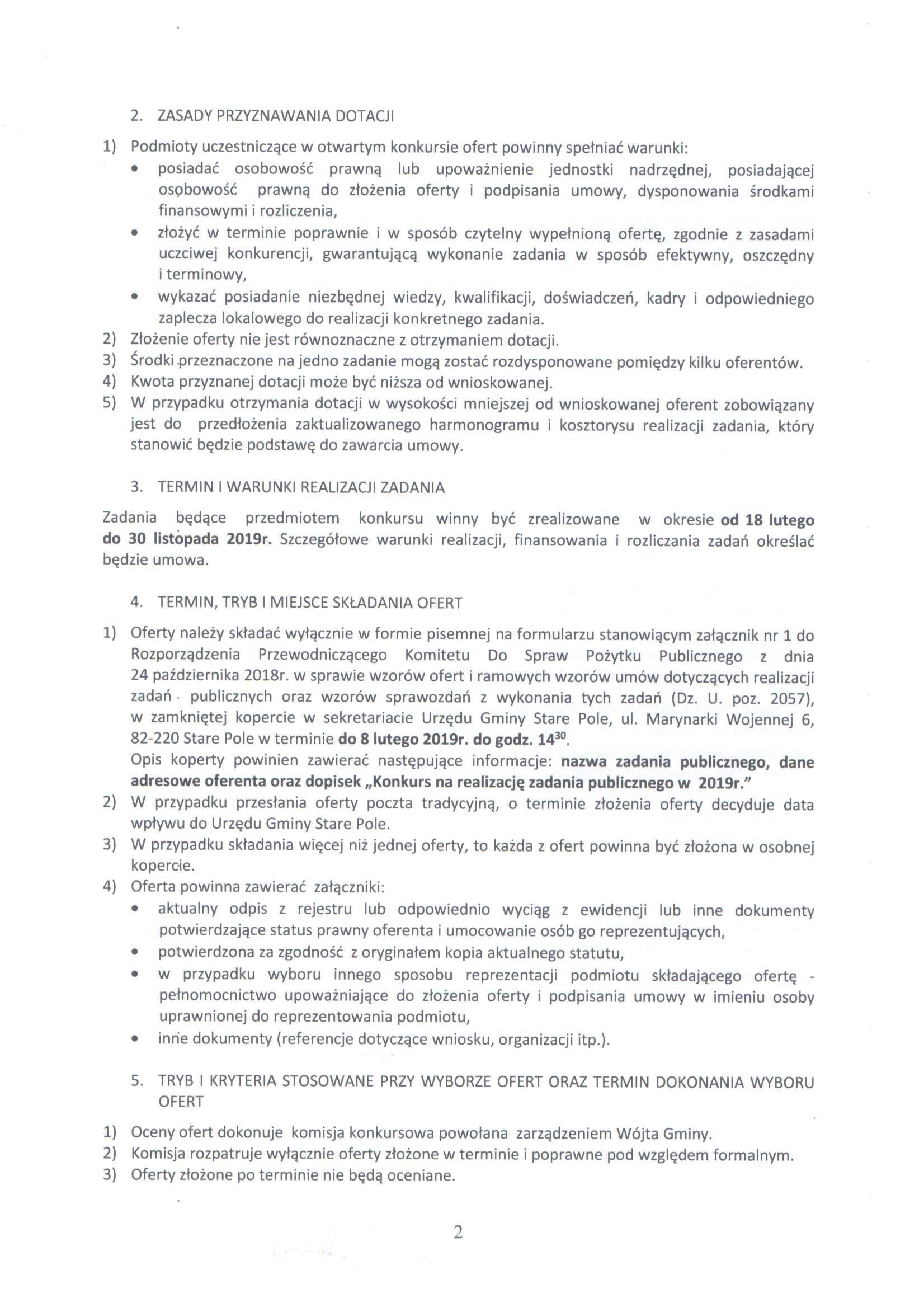 Ogłoszenie z dnia 14 stycznia 2019 r. o otwartym konkursie ofert - str. 2